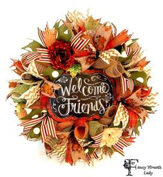 Welcome Friends FALL Front Door Burlap Mesh by FancyWreathLady