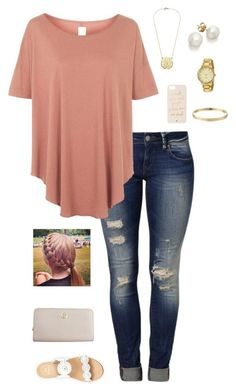 """""""G is for Gold Accents"""" by gabbbsss ❤ liked on Polyvore featuring Mavi, Topshop, Kate Spade, Jack Rogers and Tory Burch"""