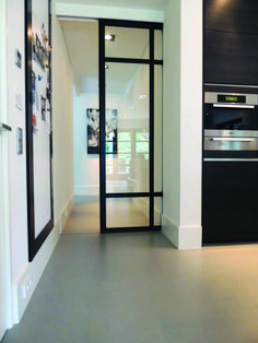 Love windowed pocket doors to define the space - nice as doors to the backyard as well. Just love pocket doors and this new twist in them. Cavity Sliding Doors, Sliding Door Panels, Sliding Wall, Sliding Pocket Doors, Sliding Door Design, Double Doors, Style At Home, Glass Pocket Doors, Glass Internal Doors
