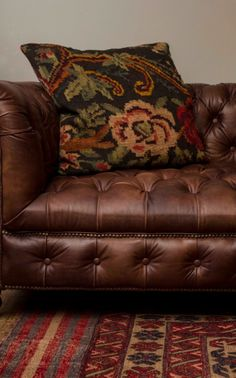 Handcrafted Leather Chesterfield with Kilim Cushion