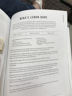 ***Mina's Lemon Bars ~ Joanna Gaines Lemon Desserts, Lemon Recipes, No Bake Desserts, Just Desserts, Delicious Desserts, Cake Recipes, Dessert Recipes, Cookbook Recipes, Magnolia Table