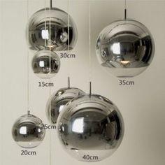 Nueva moderna Tom Dixon Silver Chrome Mirror Ball lámpara colgante luz iluminación Chandelier comedor párr Quartos lustres de sala(China (Mainland))