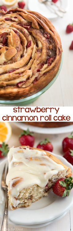 This Giant Strawberry Cinnamon Roll Cake Recipe is perfect for breakfast or brunch!