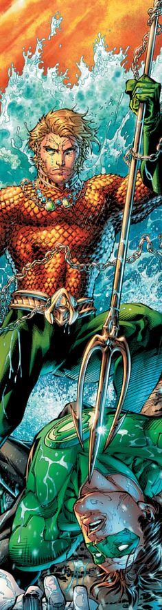 5.Pero Aquaman tenía enemigos. Uno de ellos fue Linterna Verde (Green Lantern). Despues de una brutal pelea Aquaman consiguió vencer y seguir gobernando la ciudad.