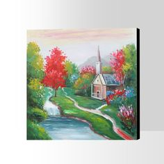 Shuhua In. handmade village river landscape trees house green red romantic water rural Oil Painting on Canvas. Diy Crochet Sweater, Oil Painting On Canvas, Abstract Landscape, Hand Painted, Romantic, Green, Cleanses, Handmade, Black Friday