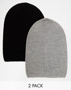 Agrandir ASOS - Lot de 2 bonnets souples - ÉCONOMIE DE 17%