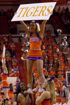CHEER Clemson sports game cheerleading NCAA Basketball: North Carolina at Clemson cheerleaders. I really love the ruffled look of the Clemson cheerleading uniforms m.17.6 #KyFun