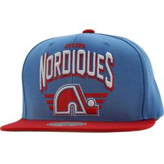 Mitchell and Ness Quebec Nordiques Stadium Snapback Cap in blue and red.