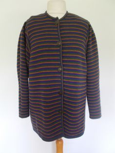 Vintage cardigan jacket 80s Michelina Stracpoole Made In Ireland striped pure new wool cardigan One size by BidandBertVintage on Etsy