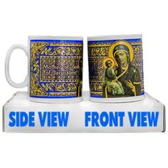 Porcelain cup, Mother of God of Jerusalem  Height: 9.5cm (3.74 inch)  Decorative porcelain cup, serigraphy, hot decal, framed in gold 18K, handmade.