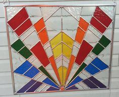 Contemporary Stained Glass Panel  Colorful by PeaceLuvGlass