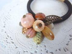 オレンジ色の果実の様な天然石のブーケ風ヘアゴム Creema Handmade Crafts Accessory Hair Elastic Ponytail Holder Natural Stone Beads ハンドメイド アクセサリー ヘアゴム ファイアーアゲート クラフト