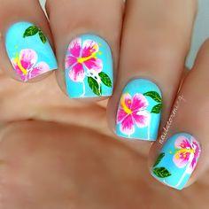 Nail art tutorial: hibiscus more nagelpflege, hibiskus nagel kunst, hawaiia Flower Nail Designs, Colorful Nail Designs, Flower Nail Art, Cool Nail Designs, Hibiscus Nail Art, Tropical Nail Art, Hawaiian Nails, Vacation Nails, Fingernail Designs