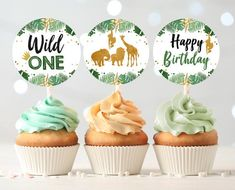 Wild One Cupcake Toppers Favor Tags Birthday Party Decoration Boy  Stickers Safari Animals Black and Gold download Digital PRINTABLE #catchmyparty #partyideas #safaricupcakes #safariparty #safaripartyfood