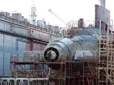 "Russian Navy Black Sea Fleet - pump jet propulsion diesel submarine ""Arurosa"". Photograph taken on January 12, 2009. It is under refit at the floating dock PD-30 of Sevu~asutopori."