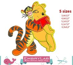 Applique Winnie The Pooh and Tigger. Machine Embroidery Applique Design. Instant Digital Download (17356) by EmbryLab on Etsy