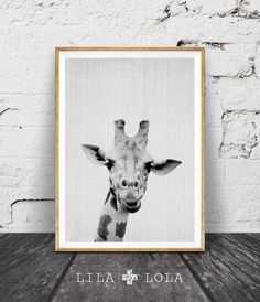 Giraffe Print, Nursery Animal Wall Art, Kids Printable Art, Black and White Nursery Decor, Safari African Animal Print, Nursery Printable