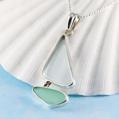 White and Light Green Sea Glass and Sterling Silver Bezel Set Sailboat Pendant and Necklace
