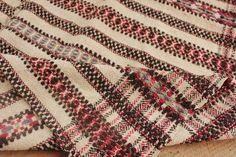 Vintage folk art throw blanket Homespun wool hemp blanket cotton FOLK ART ~* in Antiques, Antiques | eBay