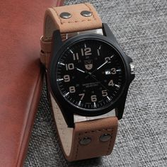 New clock Date Leather Strap Sport Quartz Military Watches - bemodanova Cheap Watches For Men, Affordable Watches, Amazing Watches, Beautiful Watches, Tactical Watch, Titanium Watches, Leather Men, Leather Fashion, Sport Watches