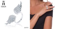 925 Sterling silver wings ring CZ - www.sarahajewelry.com - 50% off all jewelry