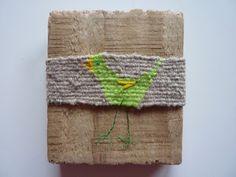 Weaving on weathered wood