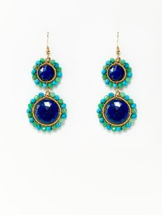 Lucy Lapis, Chrysoprase, & Turquoise Earrings by KEP on Gilt
