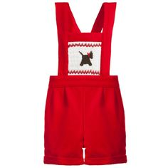 Rachel Riley Baby Boys Red Scottie Dog Smocked Wool Dungarees at Childrensalon.com