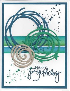 The card - swirly die cuts are from SU. Strips in background are washi tape. A little grunge and a sentiment and it makes a pretty cool but easy card. Gosh, it's been a busy week. Today will be a n