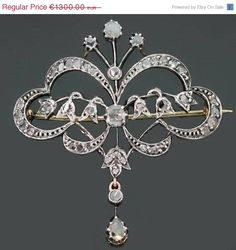 Victorian Silver Diamonds Brooch
