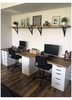 Cozy Home Office, Home Office Setup, Home Office Space, Home Office Desks, Home Office Furniture, Office Decor, Double Desk Office, Office Desks For Home, Office Ideas