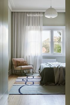 Modern Bedroom Furniture, Home Decor Bedroom, Living Room Decor, Sage Green Bedroom, Reno, Bedroom Styles, Beautiful Bedrooms, Curtains Living, Sheer Curtains
