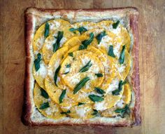 Fall flavors and ingredients are featured in this butternut squash and caramelized onion tart with fontina and fried sage leaves. This makes a great Thanksgiving appetizer and is surprisingly easy to prepare thanks to frozen puff pastry sheets.