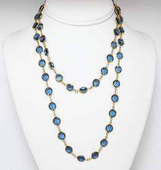 New Listings Daily - Follow Us for UpDates -  Blue Bezel Set Crystal Necklace, Dark Country Blue Faceted Crystal Glass Opera length Swarovski Style Beads,Vintage 1980s 1990s Chains offered by #TheJewelSeeker on Etsy.   ... #vintage #jewelry #teamlove #etsyretwt