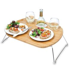 This tray is perfect for a picnic or at the beach.  Love how it holds the wine glasses.  $38.95