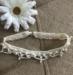 Pearl Choker  Women's / Teen Crochet Cream Faux by CreoCrochet