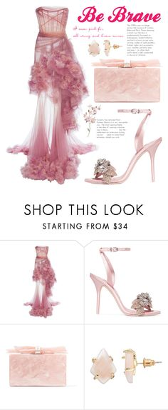 """""""Be Brave, strong, and keep fabulous!!"""" by ayiarundhati ❤ liked on Polyvore featuring Marchesa, Sophia Webster, Edie Parker, Loli Bijoux and breastcancerawareness"""