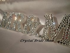mrs & mr wooden letters for a wedding | Wedding - White Wooden Mr & Mrs Sign Customised With Clear Crystal ...