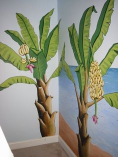 A tropical mural I painted for a bedroom