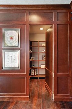 In the study, there's even a secret storage space hidden behind a fake wall that's made for hiding valuables.
