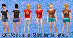 Mod The Sims - DC Comics Superhero Shirts- Aquaman, Batman, and the Flash