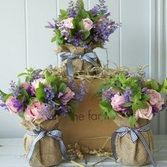 It would be cute for the bridesmaids to have flowers like this! Different flowers but love the burlap idea! Rustic Wedding Signs, Rustic Wedding Centerpieces, Wedding Decorations, Church Wedding Flowers, Wedding Dress, English Flowers, Burlap Mason Jars, Fleur Design, Ideas Geniales