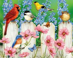 White Mountain's Picket Fence Pals jigsaw puzzle, art by Jane Maday; a group of little songbirds gather on the posts of a white picket fence. Assembled size measures and contains 1000 pieces. Art Et Illustration, Illustrations, Decoupage, Bird Wallpaper, Country Art, Tole Painting, Bird Paintings, Pretty Art, Bird Art