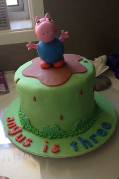 George pig cake. Splash in muddy puddles like George pig 3rd birthday cake