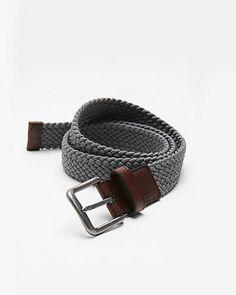 Gray Web Stretch Belt