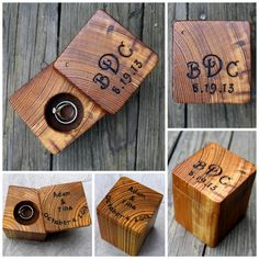 Wood Ring Box - Rustic Wedding - Personalized Ring Bearer- Rustic Ring Holder…