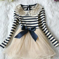 Navy striped, peter pan collared dress