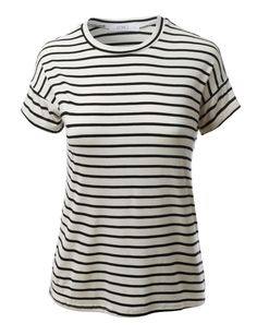 LE3NO Womens Lightweight Short Sleeve Loose Striped Tee