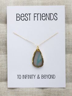 Stone Pendant Necklace Best Friends Special gift. Handmade personal card for a special gift. Perfect for birthday, holiday gift, Mothers day
