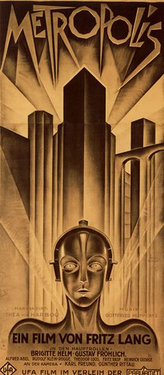 Here we have the first appearance of arguably the most beautiful poster ever designed, by German graphic artist Heinz Schulz-Neudamm. This is the domestic German three-sheet for Fritz Lang's silent masterpiece Metropolis from 1927, which sold for $357,750.00 in 2000.